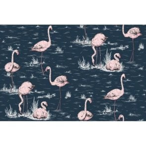 Flamingos Ink/Alabaster Wallpaper