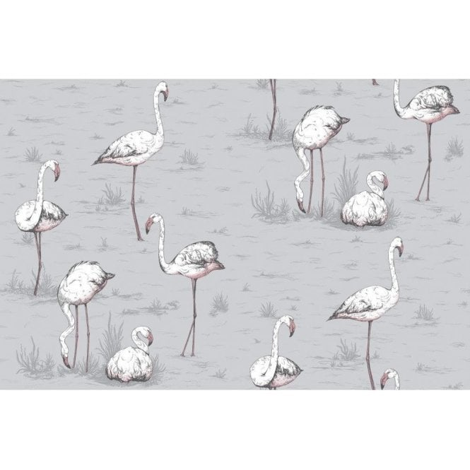 Cole & Son Flamingos Lilac Grey Wallpaper