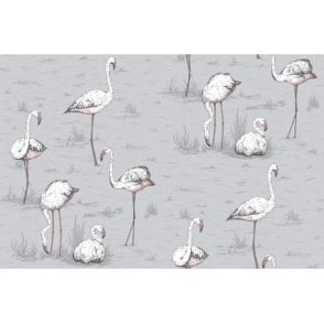Flamingos Lilac Grey Wallpaper
