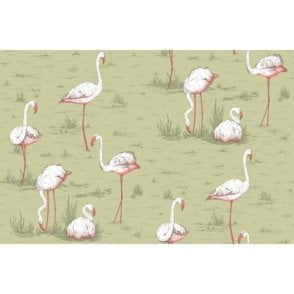 Flamingos Olive Wallpaper
