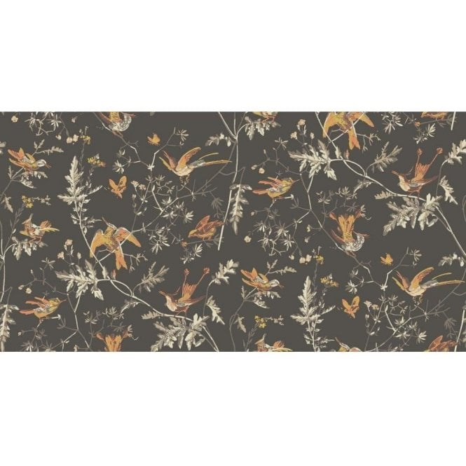 Cole & Son Hummingbirds Charcoal/Ginger Wallpaper
