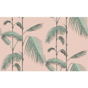 Palm Leaves Plaster Pink/Mint Wallpaper