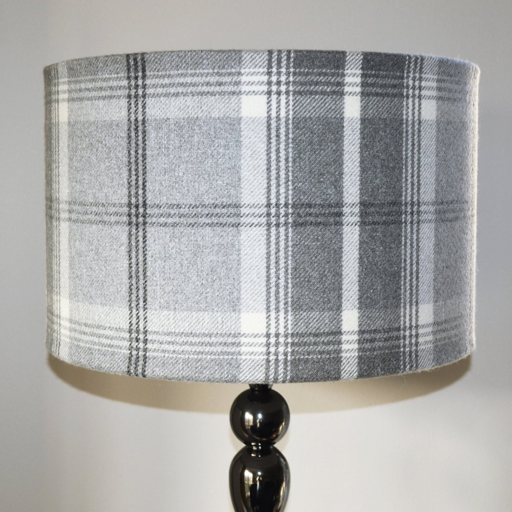 Eden Mill Handmade Lampshades Balmoral Dove Grey 40cm Drum Lampshade