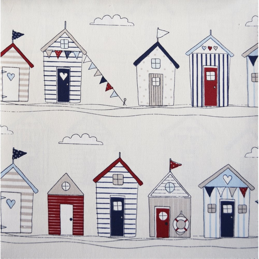 Beach huts in blue by fryetts from eden fabrics for Beach hut plans